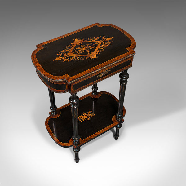 Antique Napoleon III Side Table, French, Etagere, Burr Walnut, Sewing, C.1870