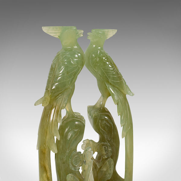 Pair of, Antique Carved Figures, Oriental, Jade, Bird of Paradise, Victorian
