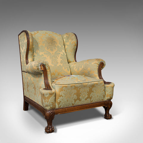 Antique Wing-Back Arm Chair, English, Fireside, Lounge, Seat, Edwardian, 1910