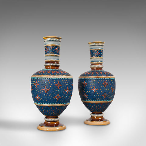 Pair of Antique Decorative Vases, German, Ceramic, Villeroy & Boch, Victorian