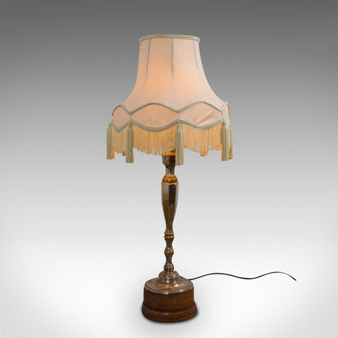 Tall Vintage Table Lamp, English, Walnut, Silver Plate, Side Light, Circa 1930
