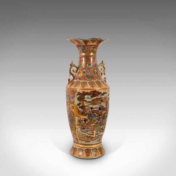 Tall Vintage Baluster Vase, Oriental, Decorative Vessel, Art Deco, Circa 1940