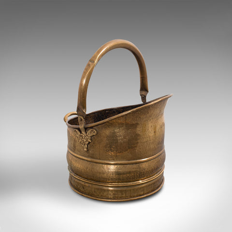 Antique Fireside Bucket, English, Brass, Coal, Log, Scuttle, Victorian, C.1900