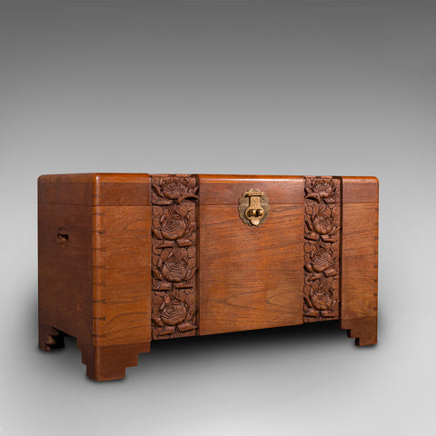 Vintage Carved Chest, Oriental, Camphorwood, Linen Trunk, Art Deco, Circa 1940