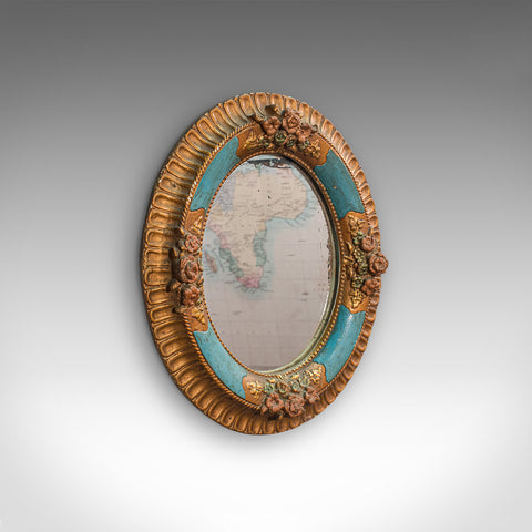 Antique Decorative Wall Mirror, German, Oval, Black Forest, Victorian, C.1900