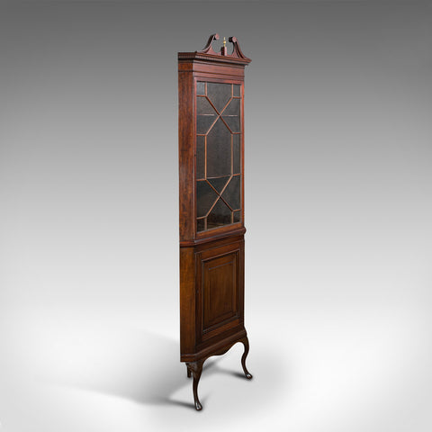Rare, Tall Antique Corner Cabinet, Mahogany, Cupboard, Georgian Revival, C.1880