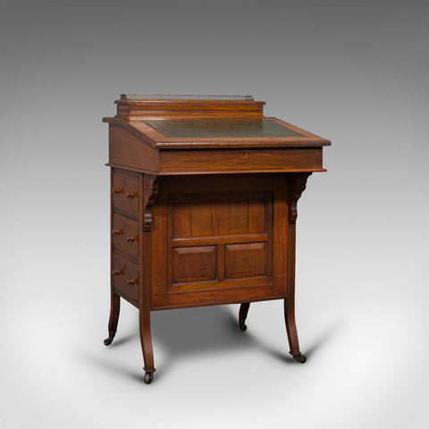 Antique Davenport, English, Walnut, Bird's Eye Maple, Writing Desk, Victorian