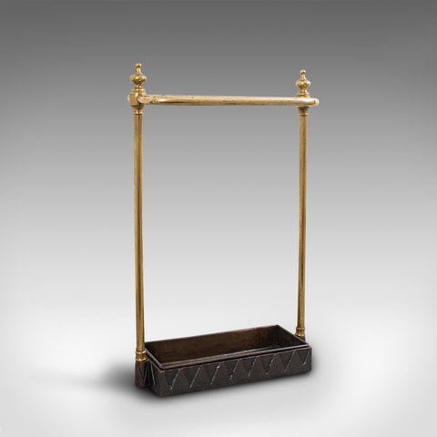 Antique Stick Stand, French, Brass, Hall, Cane, Umbrella Rack, Victorian, C.1850