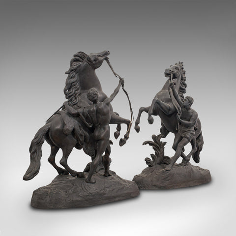 Collectible Antique Pair, Marly Horses, French, Bronze, Equine, Statue, Coustou