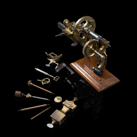 Antique Watchmaker's Lathe, Swiss, Brass, Copper, Precision Instrument, C.1900
