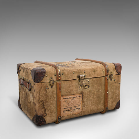Antique Steamer Trunk, English, Canvas, Leather, Travel Chest, Edwardian, C.1910