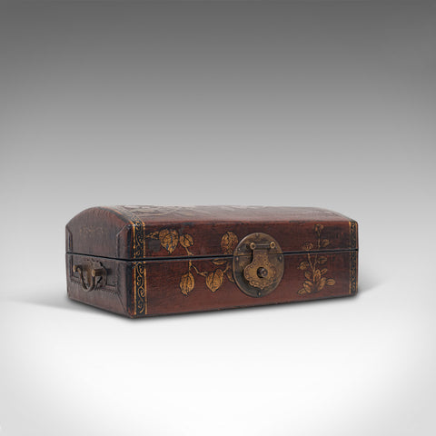 Antique Jewellery Box, Japanese, Leather, Desk Caddy, Meiji Period, Circa 1900