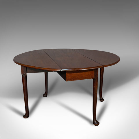 Antique Drop Leaf Table, English, Mahogany, Dining, Seats 4, Georgian, C.1750