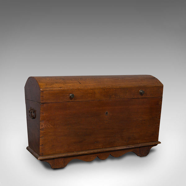 Large Antique Shipping Chest, English, Oak, Carriage Trunk, Georgian, Circa 1800