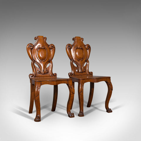 Pair Of, Antique Shield Back Chairs, Scottish, Oak, Hall Seat, Victorian, C.1880