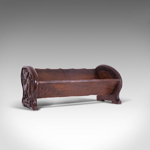 Antique Carved Book Stand, Oriental, Mahogany, Rack, Dragon Motif, 19th Century