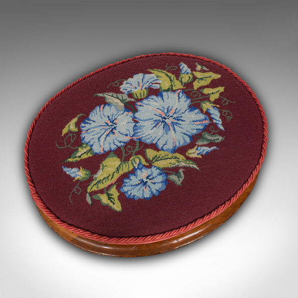 Pair of Antique Footstools, English, Walnut, Needlepoint, Rest, Victorian C.1860
