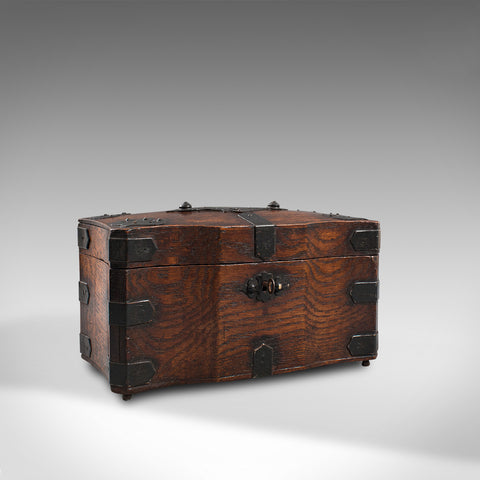 Antique Tea Box, English, Oak, Iron, Connoisseur Caddy, Case, Georgian, C.1800