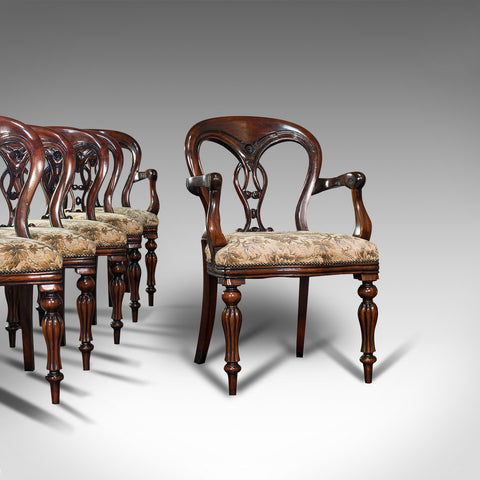 Vintage Dining Chair Set, English, Mahogany, Carver, 6, Regency Revival, C.20th