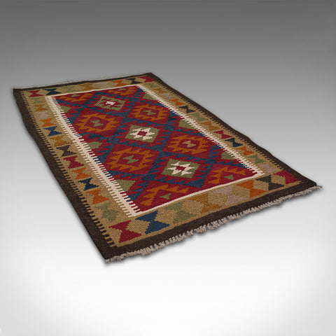 Small Vintage Maimana Kilim Carpet, Middle Eastern, Prayer Mat, Rug, Circa 1970