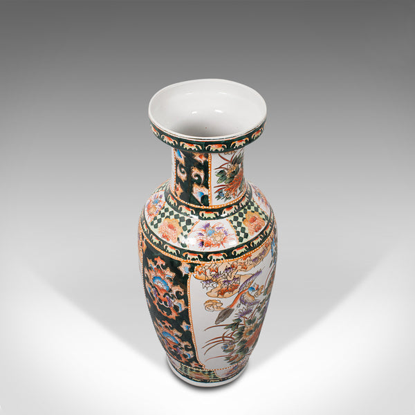Tall Vintage Decorative Flower Vase, Oriental, Ceramic, Baluster Urn, Art Deco