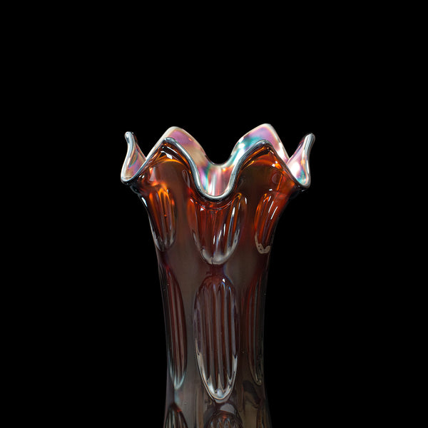 Small Vintage Decorative Vase, English, Carnival Glass, Flower, Mid 20th, C.1940
