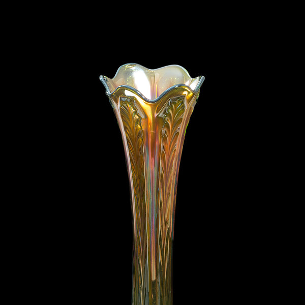 Fine Vintage Carnival Vase, English, Glass, Decorative, Flower, Lustre, C.1930