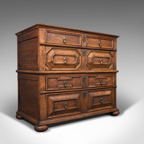 Antique Chest of Drawers, English, Oak, Tallboy, William III Period, Circa 1700