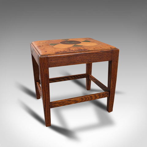 Antique Arts & Crafts Footstool, English, Oak, Leather, After Cotswolds, C.1910