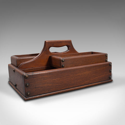 Antique Cobbler's Carry Tray, English, Mahogany, Tool Box, Cutlery, Edwardian