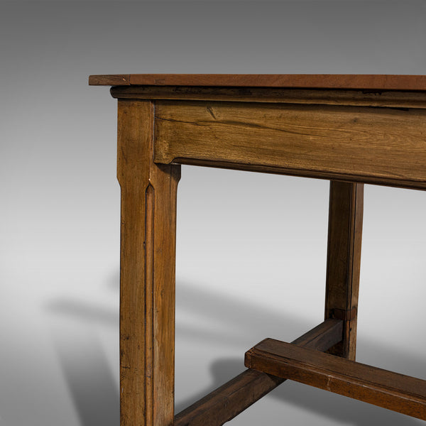 Large Antique Refectory Table, English, Teak, Mahogany, Dining, Industrial, 1900