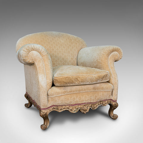 Antique Armchair, French, Beech Lounge, Tub, Seat, Late Victorian, Circa 1900