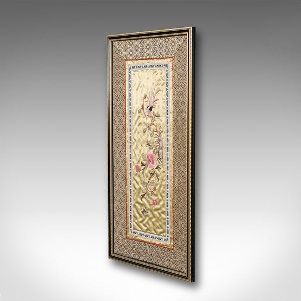 Antique Embroidered Silk Panel, Chinese, Framed Decorative Needlepoint Tapestry