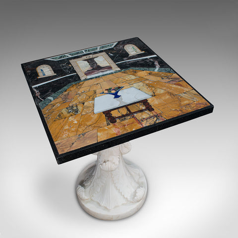 'Cornucopia' Vintage Decorative Marble Table, English, Handmade, Pietra Dura