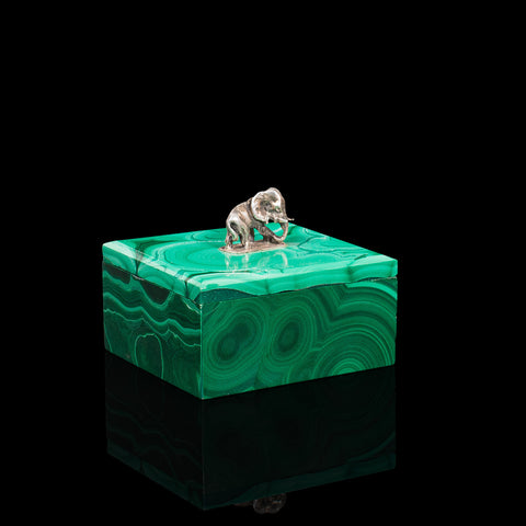 Small Antique Trinket Box, English, Malachite, Silver, Decorative, Victorian