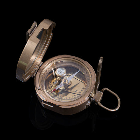 Vintage Pocket Compass, English, Terrestrial, Marine, Navigation, Instrument