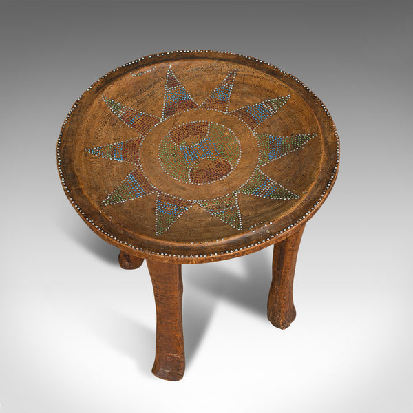 Small Antique Tribal Side Table, Australian, Lamp, Stool, Late Victorian, C.1900