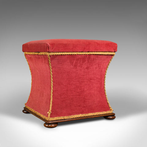 Antique Ottoman, English, Velour, Dressing, Sewing Stool, Victorian, Circa 1890