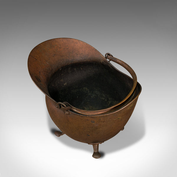 Antique Helmet Scuttle, English, Copper, Coal Basket, Fireplace, Victorian, 1880