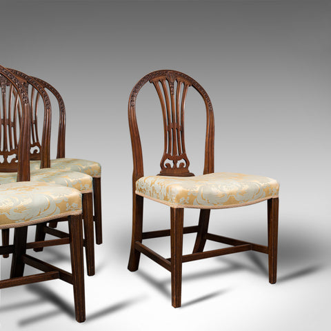 Set Of 4 Hepplewhite Revival Chairs, English, Mahogany, Dining Suite, Victorian