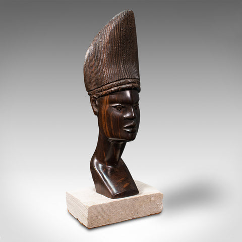 Antique Hand Carved Female Bust, African, Ebony, Ornamental Figure, Circa 1900