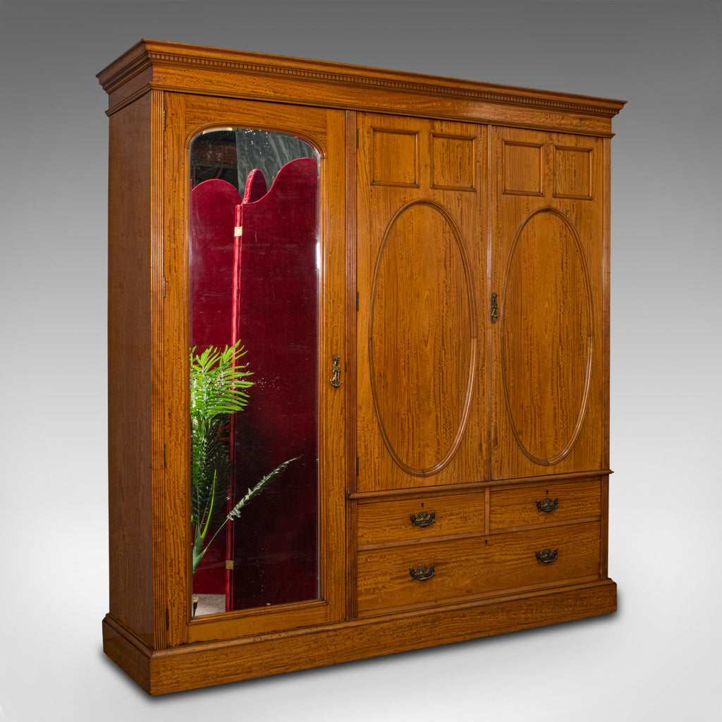 Antique Master Bedroom Wardrobe Satinwood Cupboard Maple And Co London Fine Antiques