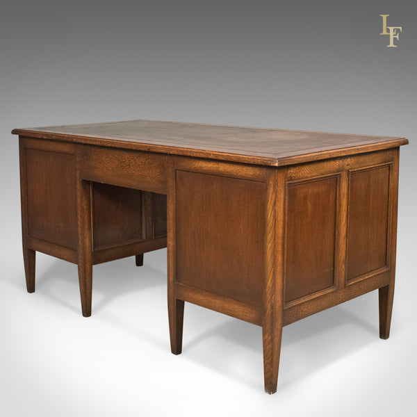 1930's Vintage Oak Desk by Maggs & Co, English Pedestal Library - London Fine Antiques