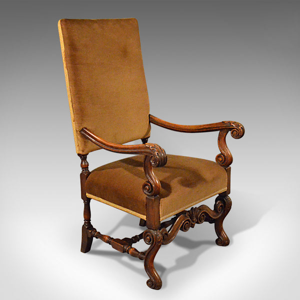 Antique Elbow Chair, English, Walnut, Armchair, Victorian, Circa 1880 - London Fine Antiques