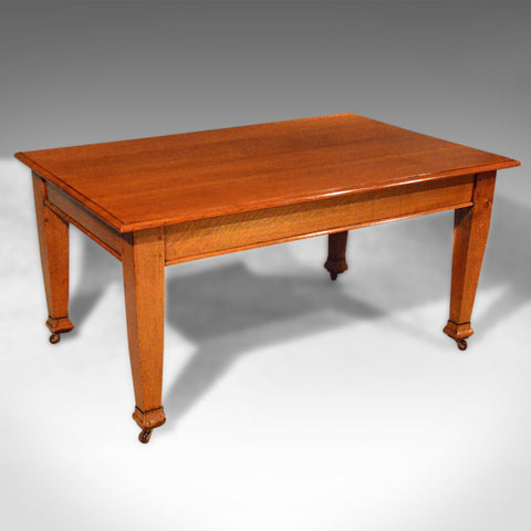 Antique Dining Table, Six Seat, English, Oak, Kitchen, Edwardian, Circa 1910