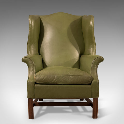 Large Antique Wing Back Armchair, English, Leather, Club Chair, Circa 1900