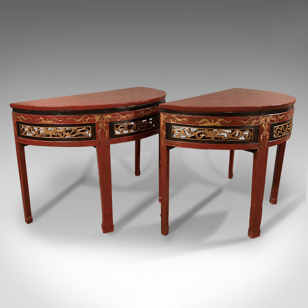 Pair of Antique Chinese Demi-Lune Tables, 19th Century, Circa 1850 - London Fine Antiques