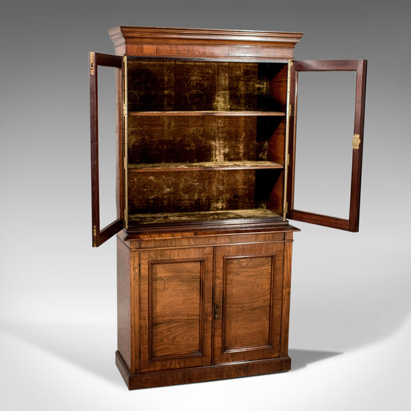 Antique Display Cabinet, Tall, Victorian, Rosewood, Bookcase, Circa 1900 - London Fine Antiques