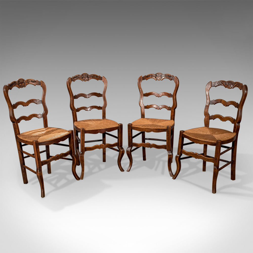 Set of 4 Antique Dining Chairs in Dark Beech, French Country Kitchen Circa 1900 - London Fine Antiques