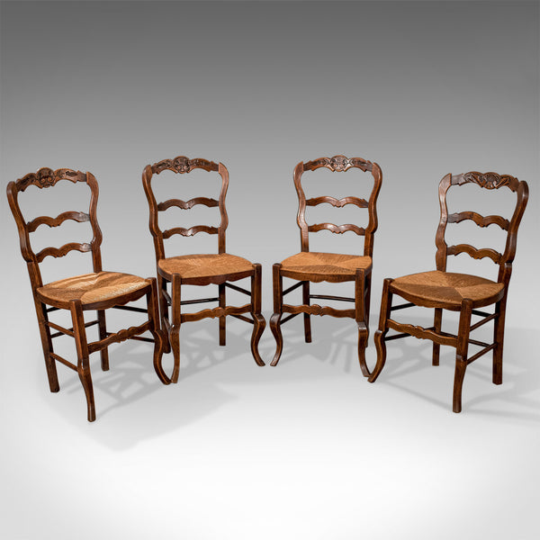 Set of 4 Antique Dining Chairs in Dark Beech, French Country Kitchen Circa 1900